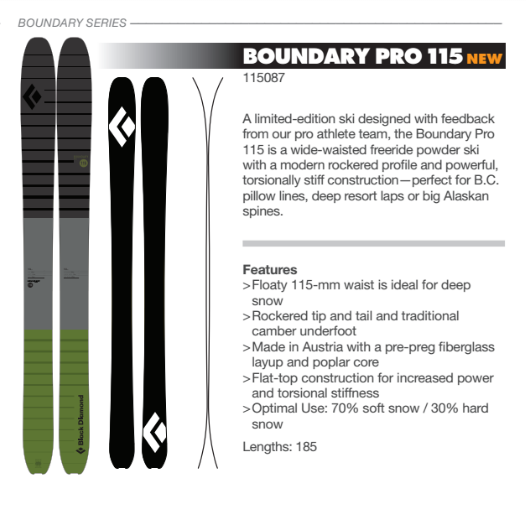 black diamond boundary pro 115 ski