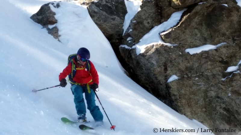 Brittany Walker Konsella backcountry skiing Buffalo Mountain Silver Couloir.