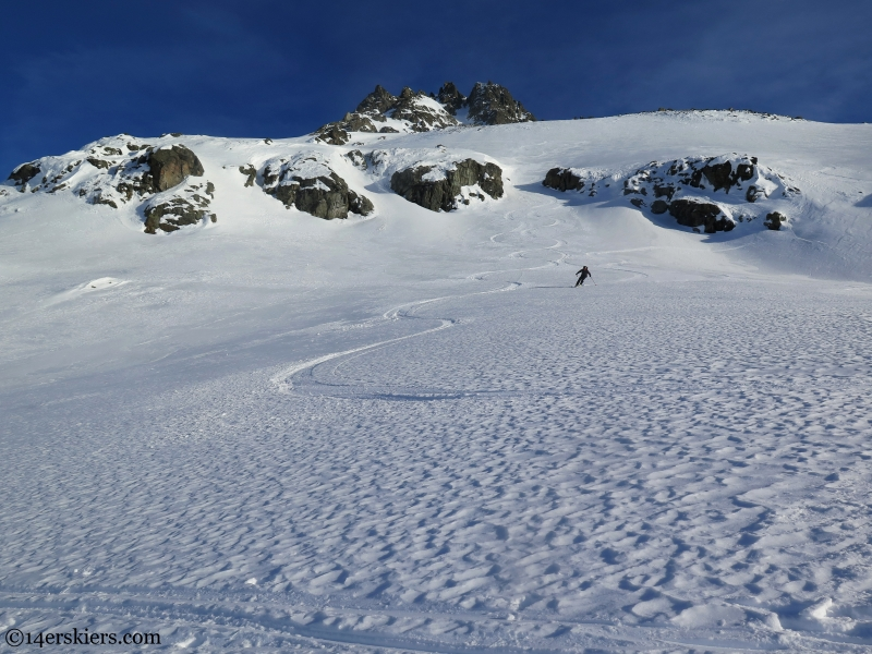 ski tracks in rippled snow