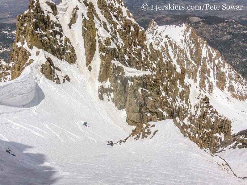 Brittany skiing the Sneffels Snake Couloir