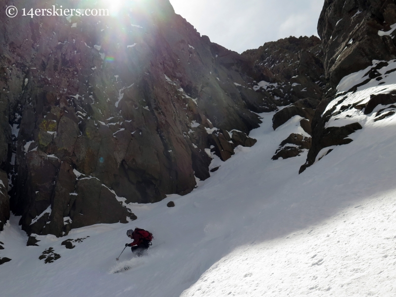 Frank skiing the Sneffels Snake Couloir