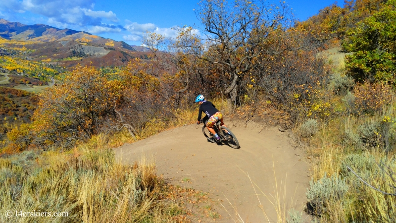 Ann Driggers mountain biking in Snowmass, CO