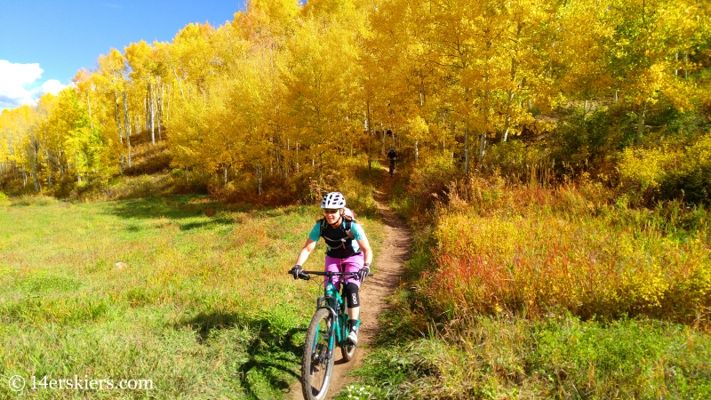 Brittany Walker Konsella & Ann Driggers mountain biking in Snowmass, CO.