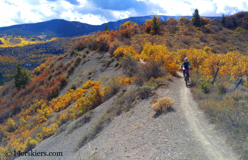 Brittany Konsella mountain biking in Snowmass, CO.