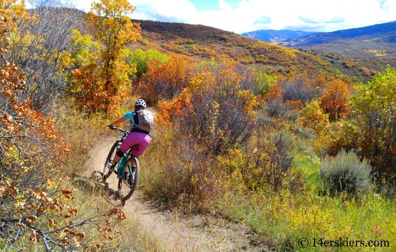 Brittany Walker Konsella mountain biking in Snowmass, CO.