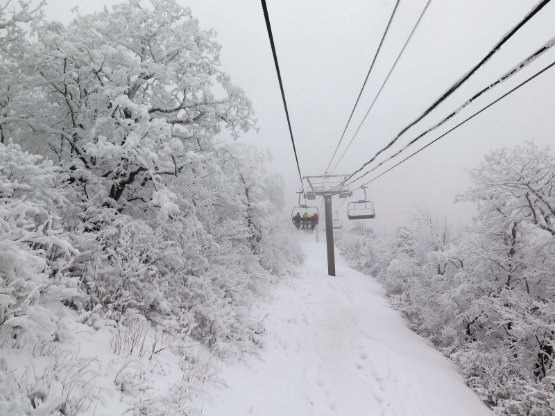 Going up the Rainbow Chair at YongPyong ski area in South Korea.