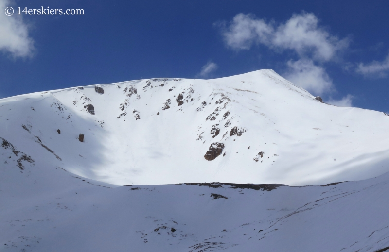 Backcountry skiing the east cirque on Square Top Mountain.