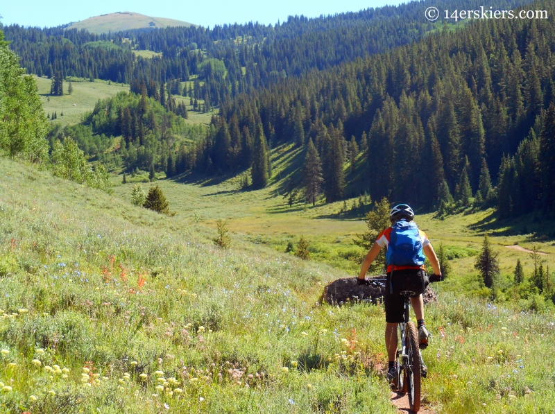 Heather McDowell mountain biking Upper Cement Creek Trail near Crested Butte
