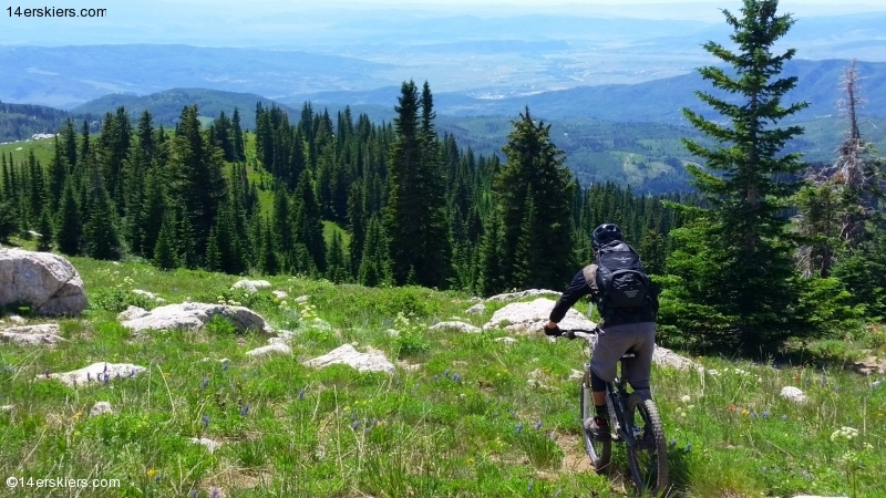 Larry Fontaine mountain biking Soda Mountain near Steamboat Springs.