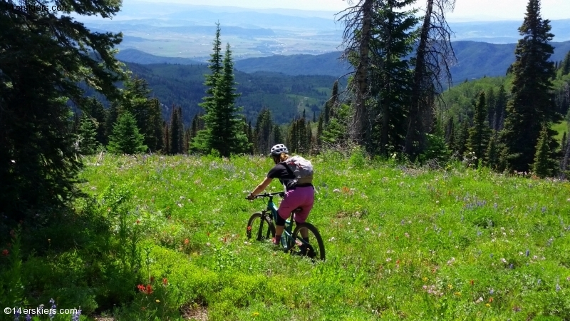 Brittany Konsella mountain biking near Steamboat Springs.