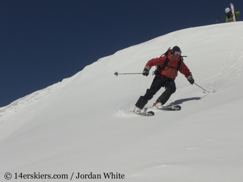 Frank Konsella backcountry skiing on Sunshine Peak.