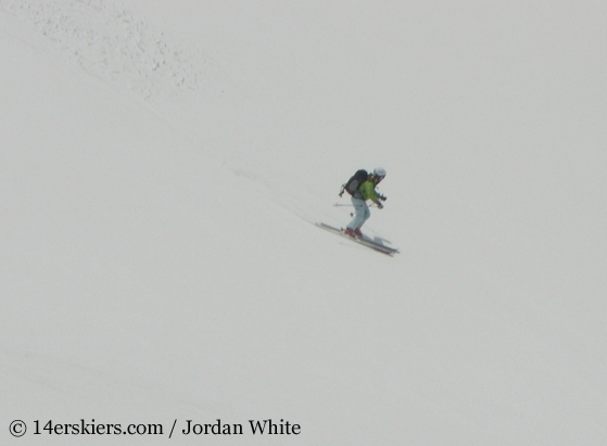 Brittany Walker Konsella backcountry skiing on Redcloud Peak
