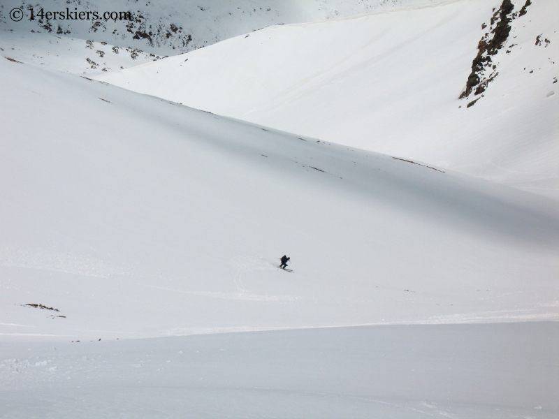 Jordan White backcountry skiing on Redcloud Peak.
