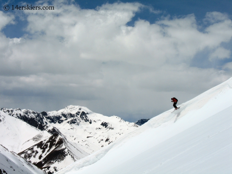 Frank Konsella backcountry skiing on Redcloud Peak.