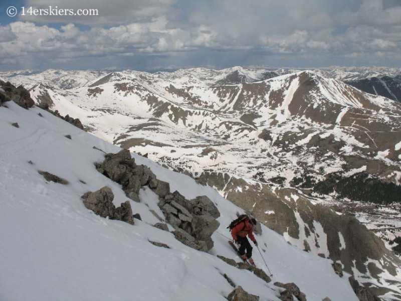 Frank Konsella backcountry skiing on Tabeguache Peak.