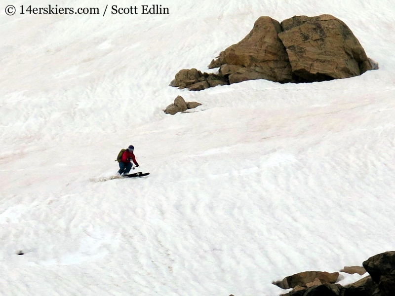 Brittany Konsella backcountry skiing on Toll