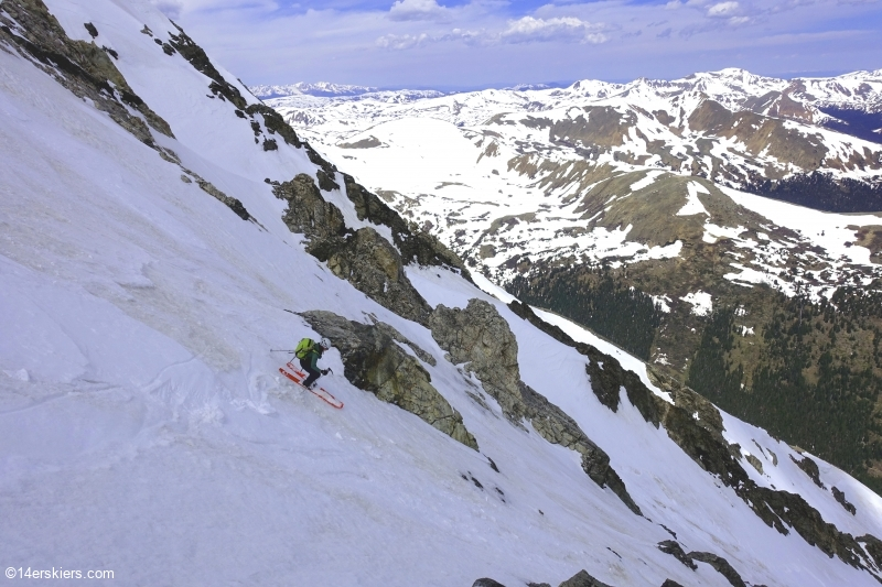 Backcountry skiing the Emperor Couloir on Torreys Peak