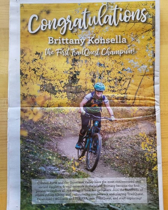Brittany Konsella finishes TrailQuest in Crested Butte