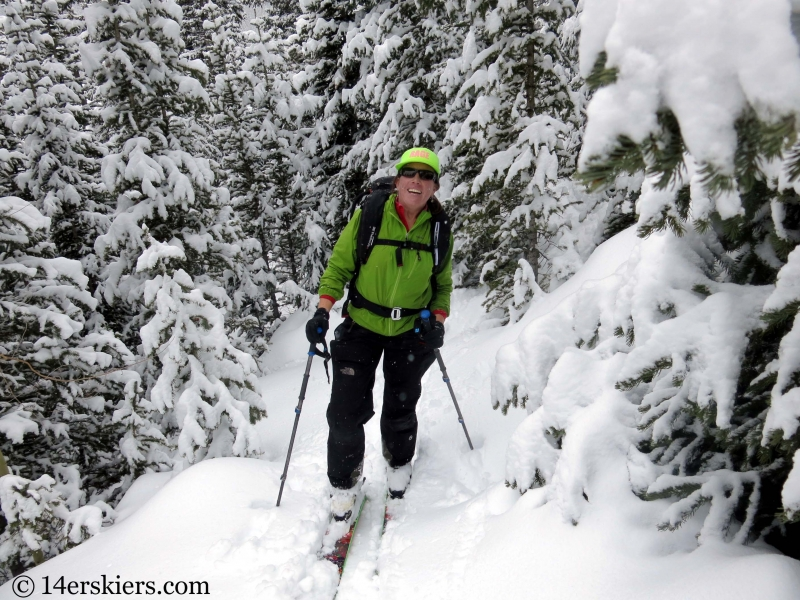 Susan Mol backcountry skiing on Mount Trelease