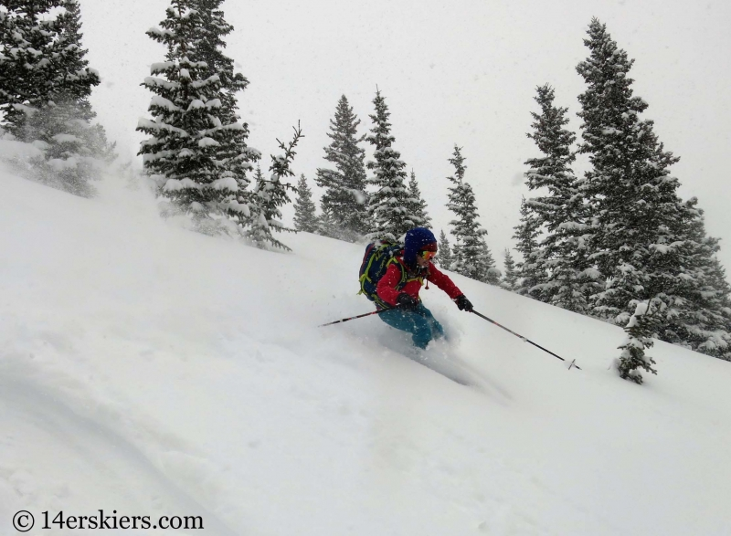 Brittany Konsella backcountry skiing on Mount Trelease.