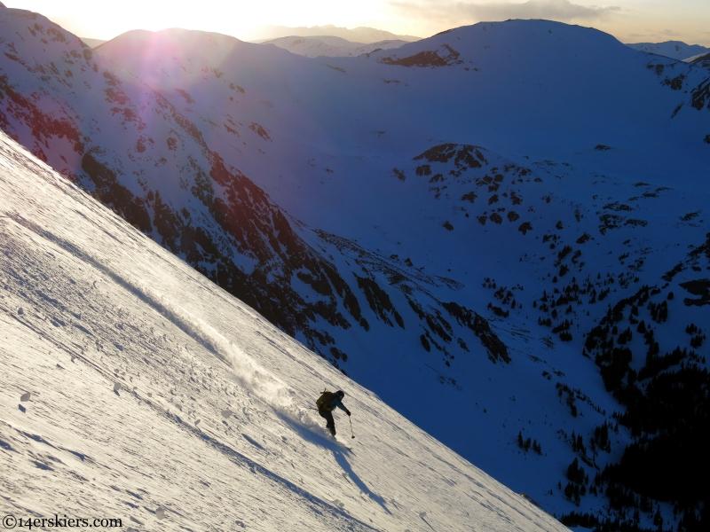 Brittany Konsella skiing a fourteener