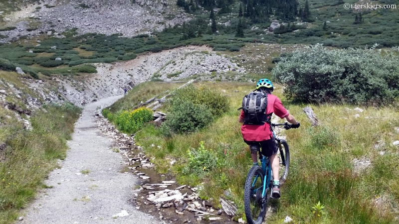mountain biking the Tunnel Lakes trail from the Alpine tunnel