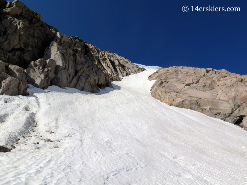 Backcountry skiing on Tyndall Couloir