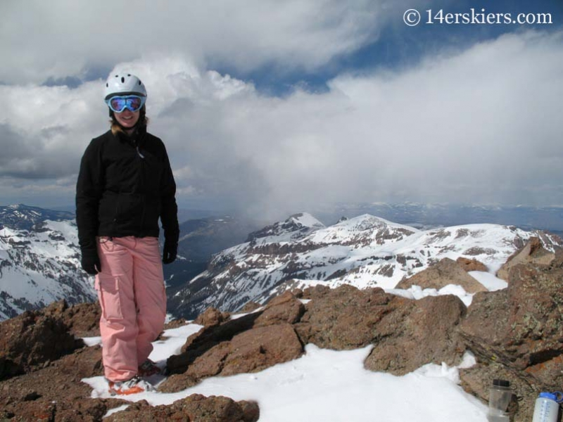 Brittany Walker Konsella getting ready to backcountry ski on Uncompahgre Peak.