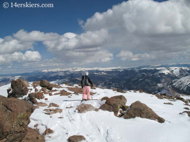 Brittany Walker Konsella skiing Uncompahgre Peak from the summit.