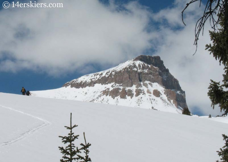 Skinning to ski Uncompahgre Peak.
