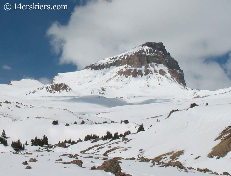 Uncompahgre Peak with snow cover.