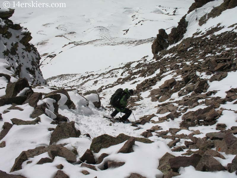 Frank Konsella making his way down Uncompahgre Peak.