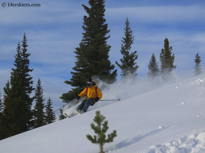 Gary Fondl backcountry skiing on Uneva Peak.