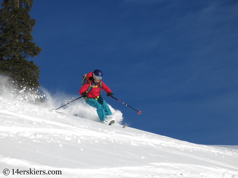 Brittany Konsella backcountry skiing Uneva Peak.