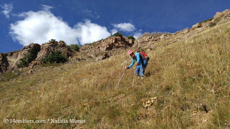 Steep grass hiking