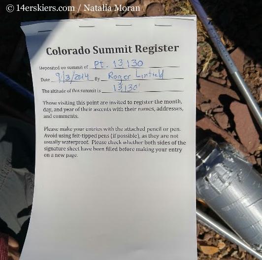 Summit register on Unnamed 13,130'