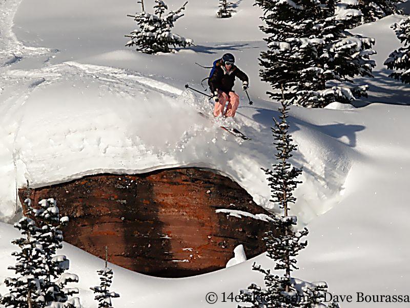 Brittany Walker Konsella backcountry skiing on Vail Pass.