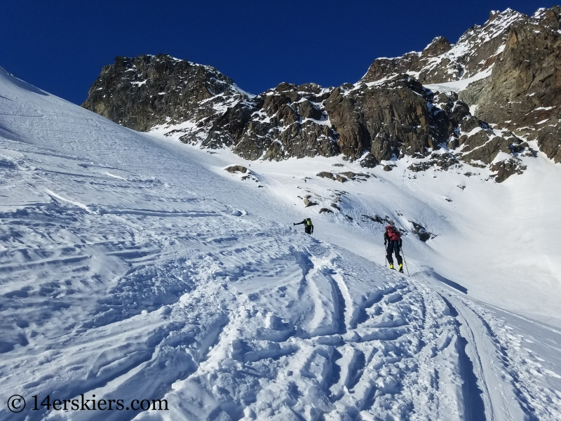 Backcountry skiing on Oschentaier Glacier