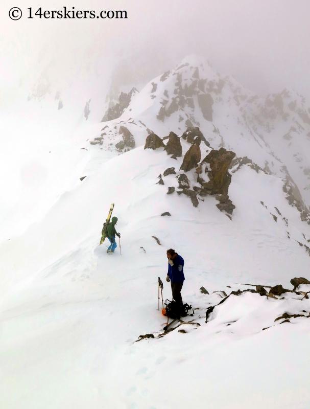 Natalie Moran and Matt Kamper on the ridge on Atlantic Peak.