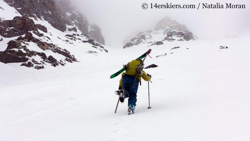 Brittany Konsella climbing up Atlantic Peak.