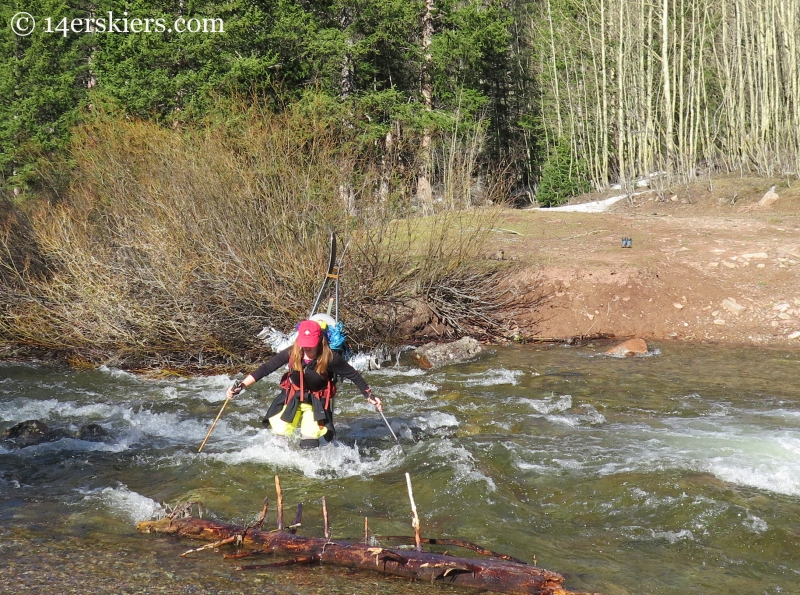 Jenny Veilleux crossing Copper Creek