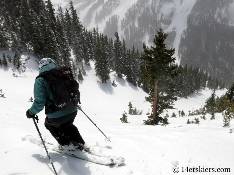 Susan Mol backcountry skiing Loveland Pass Widow Maker