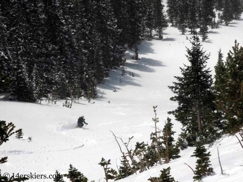Susan Mol backcountry skiing Loveland Pass Widow Maker
