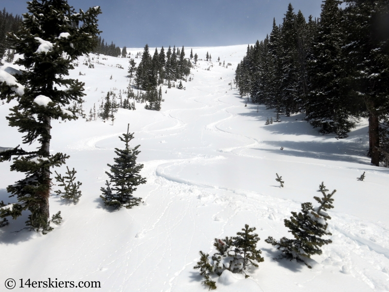 Backcountry skiing Loveland Pass Widow Maker