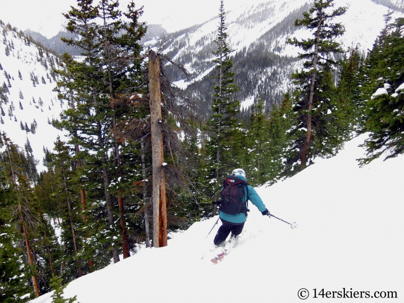 Susan Mol backcountry skiing Loveland Pass Hippie Trees.