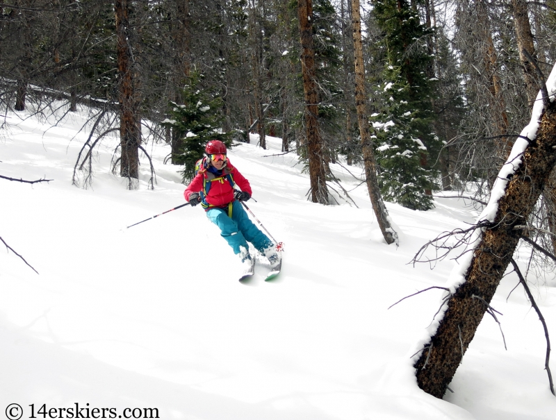 Brittany Konsella backcountry skiing Loveland Pass Hippie Trees.