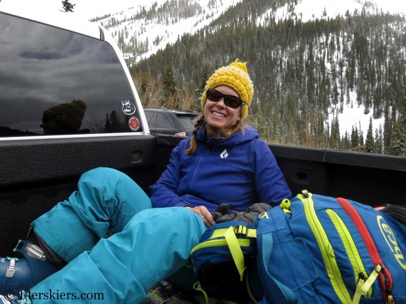 Brittany Konsella backcountry skiing Loveland Pass.