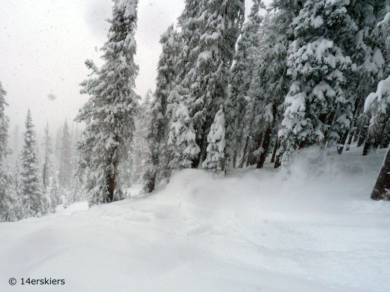 Deep powder skiing at Wolf Creek ski area in Colorado.