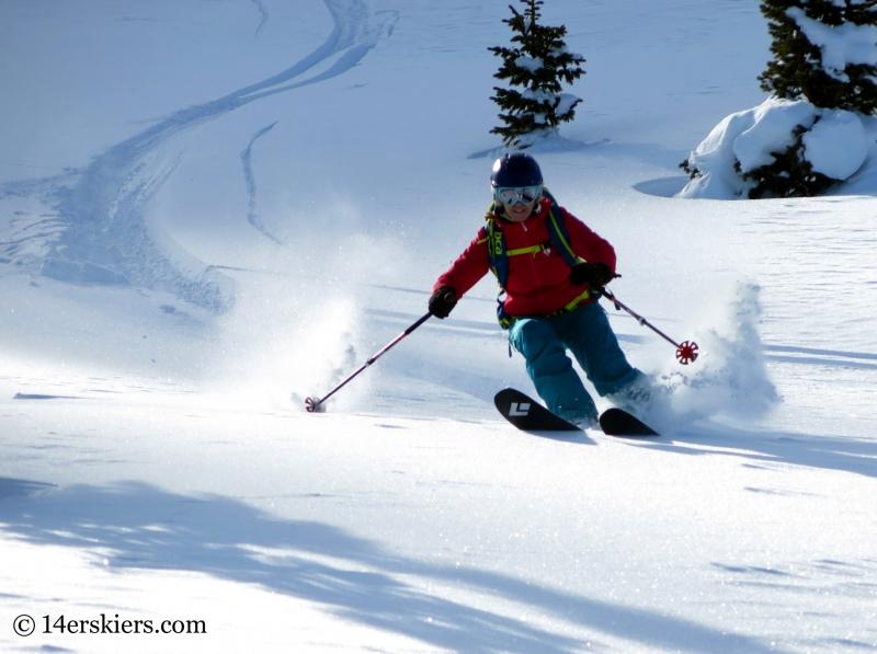 Brittany Konsella backcountry skiing on Wolf Creek Passl