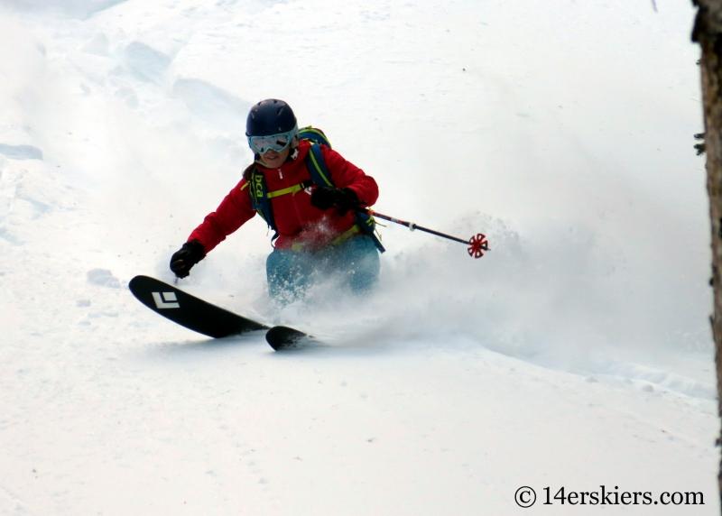 Brittany Konsella backcountry skiing on Wolf Creek Pass.